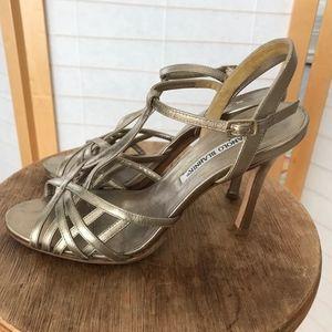 Manolo Blahnik strappy stiletto metallic sandals